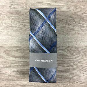Van Heusen Gray & Blue Crossed Striped Tie